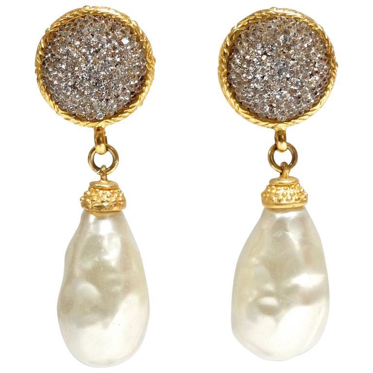 1990s Deanna Hamro Crystal Diamente Swarovski w Faux Drop Pearl Earrings For Sale