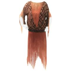 Velvet Lattice Ombre Fringe Tassel Flapper Tunic Dress, 1920s