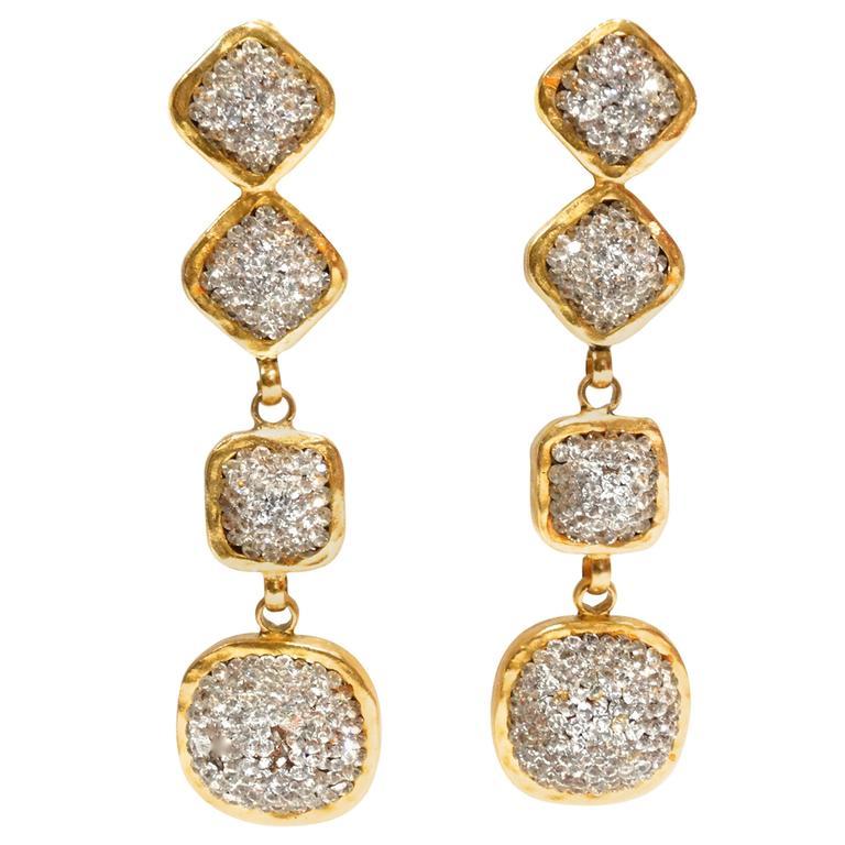 Glamorous 1990s Deanna Hamro Diamente Swarovski Earrings For Sale