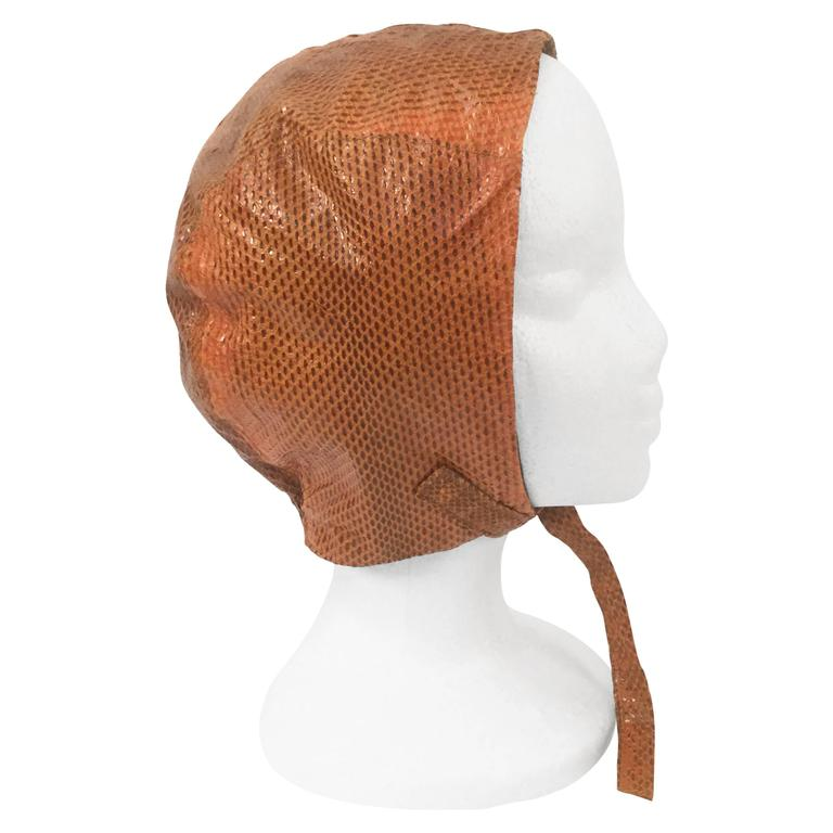 Burnt Chestnut Snake Skin Hat / Cap / Helmet,  1970s  For Sale