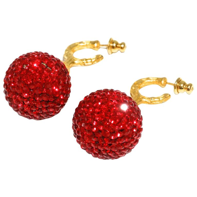 1990s Deanna Hamro Ruby Red Diamante Swaroski Crystal Ball Earrings For Sale