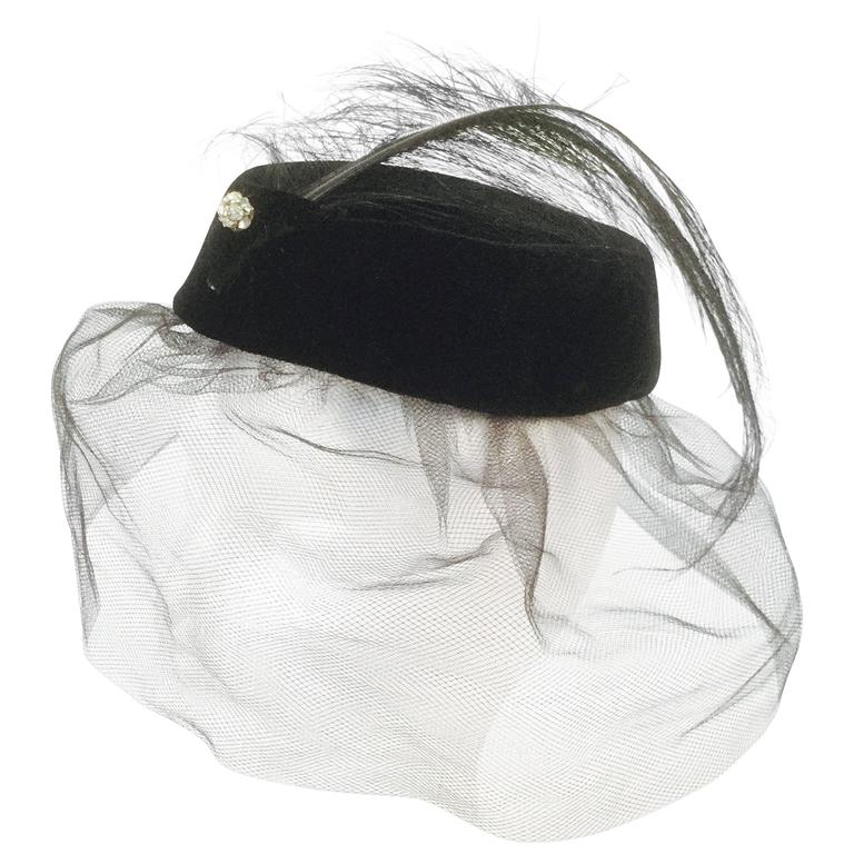 1950s Miss Sally Victor Velvet Rhinestone Feather Pillbox Hat For Sale