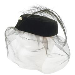 1950s Miss Sally Victor Velvet Rhinestone Feather Pillbox Hat