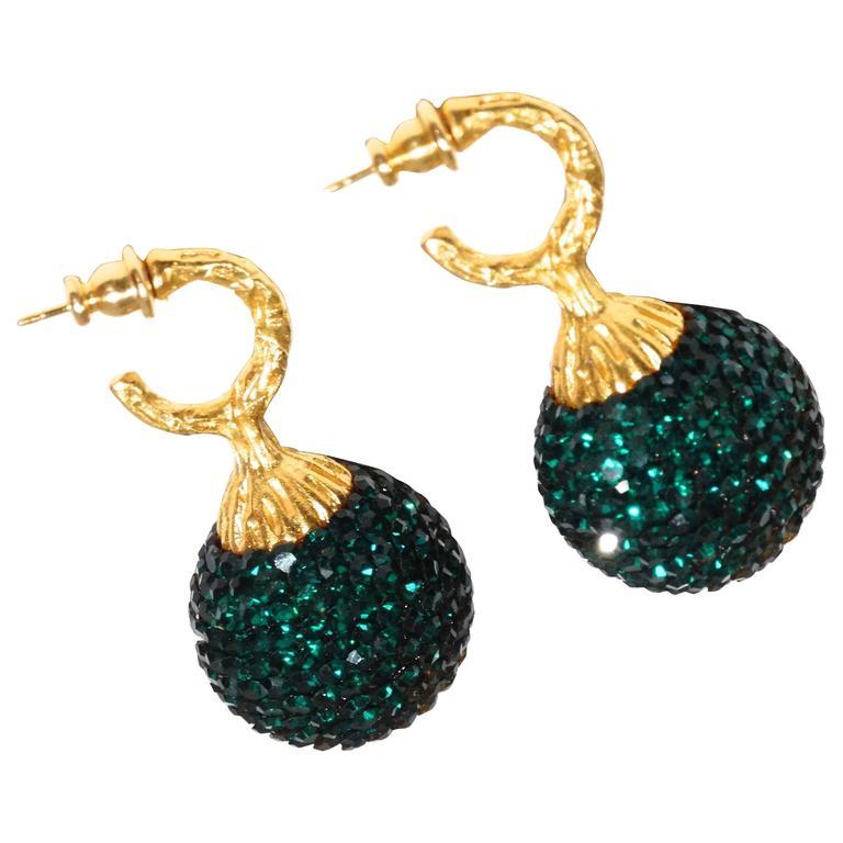 1990s Deanna Hamro Emerald Green Diamante Swaroski Crystal Ball Earrings  For Sale
