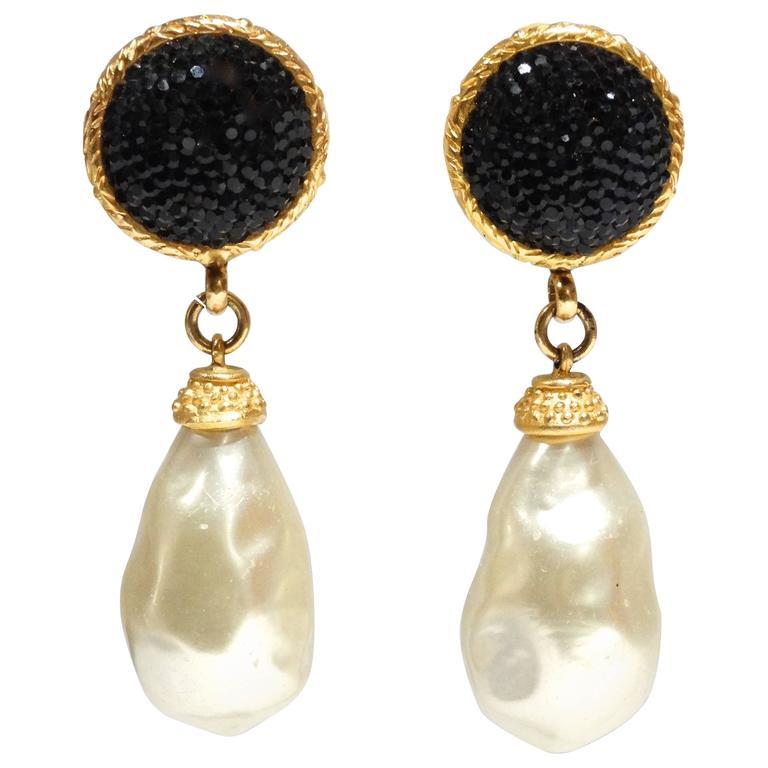 1990s Deanna Hamro Black Crystal Diamente Gold Tone Earrings For Sale