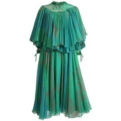 Ossie Clark Celia Birtwell couture silk chiffon screen-print dress, circa 1976