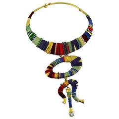 Christian Lacroix Vintage Rare Masai Inspired Torque Bib Necklace