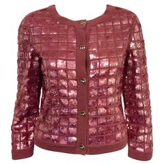 2008 Chanel Med. Burgundy Cashmere Cardigan Iridescent Sequin Embroidery