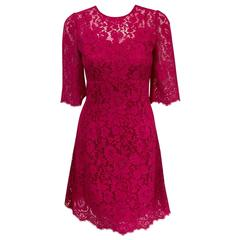 NWT Dolce & Gabbana Raspberry Lace Dress With Full Satin and Lace Slip