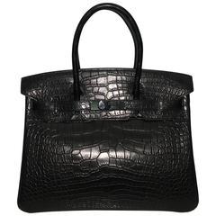 Brand New Hermes Birkin 30 So Black Croc Black Hardware
