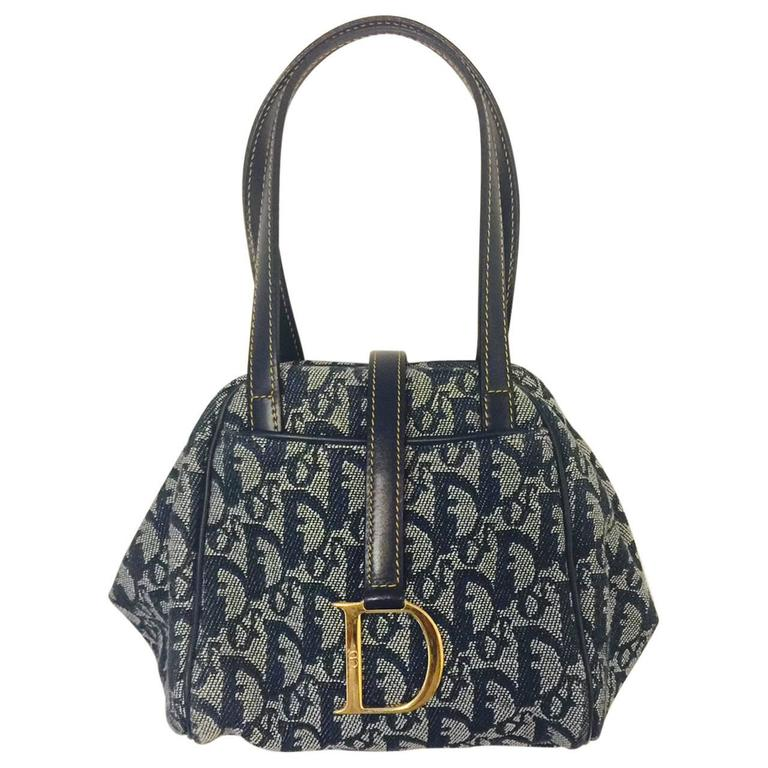 2bdbc609619d Christian Dior Blue Monogram Denim Collapsible Flap Hand Bag Double Straps  at 1stdibs