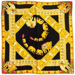 Must de Cartier Black Silk Scarf With Bejeweled Procession of Golden Elephants