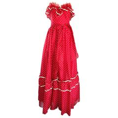 1970s Red and White Polka Dot Vintage 70s Strapless Chiffon Belted Maxi Dress