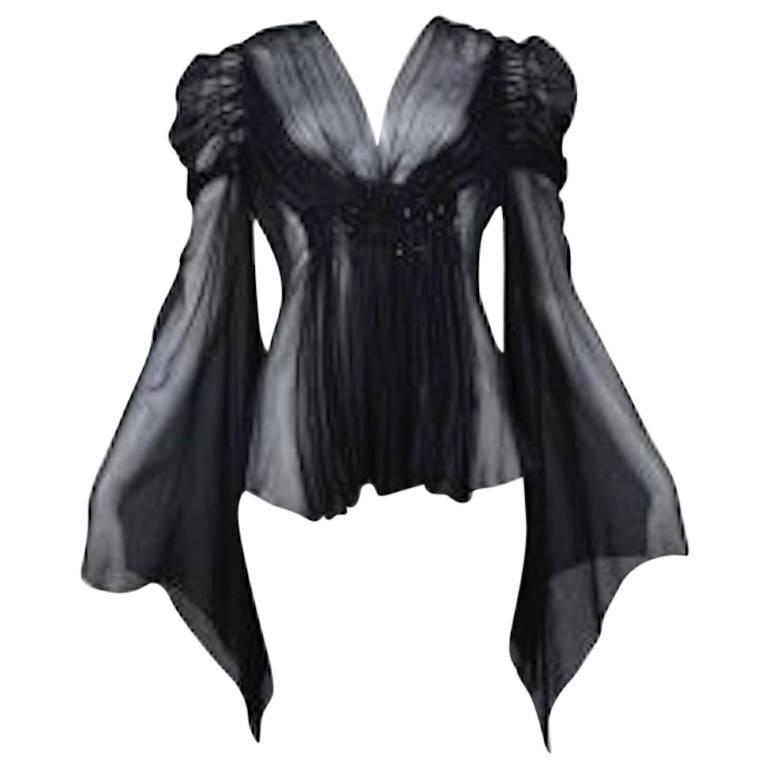 Vintage 1930's Black Flutter Sleeve Blouse