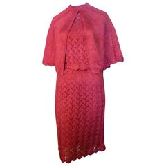 1960s Unique Raffia Knit and Crochet Dress and Matching Cape