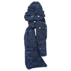 Chanel Knit Hat & Scarf - black/blue cashmere