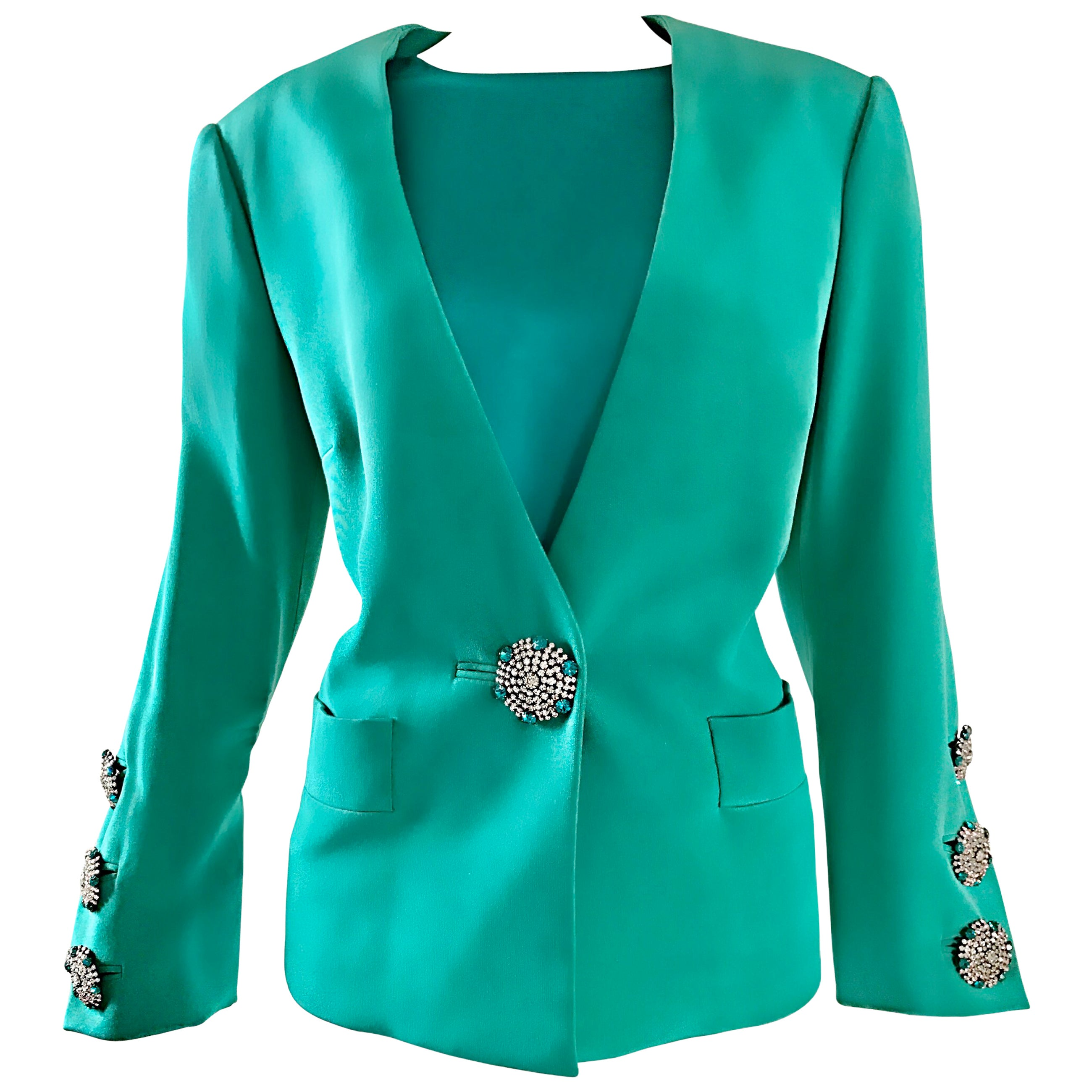 Vintage Yves Saint Laurent Haute Couture Kelly Green Silk Jacket and Shell Set