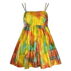 Amazing 1970s Vintage Tie Dye 70s Trapeze Colorful Sleeveless Romper Onesie
