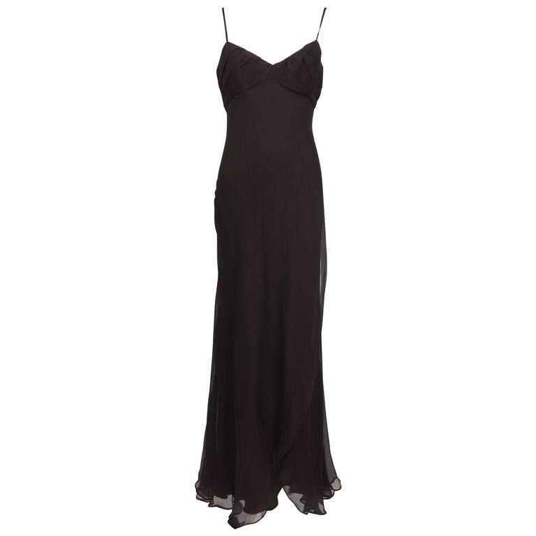 J. Mendel Paris chocolate brown silk chiffon bias cut evening dress ...