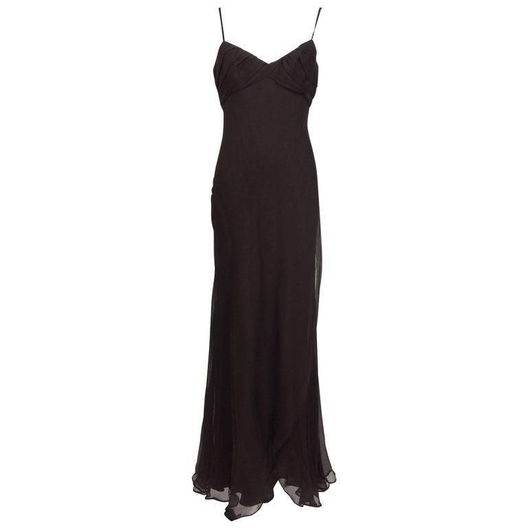 J. Mendel Paris chocolate brown silk chiffon bias cut evening dress 8 For Sale