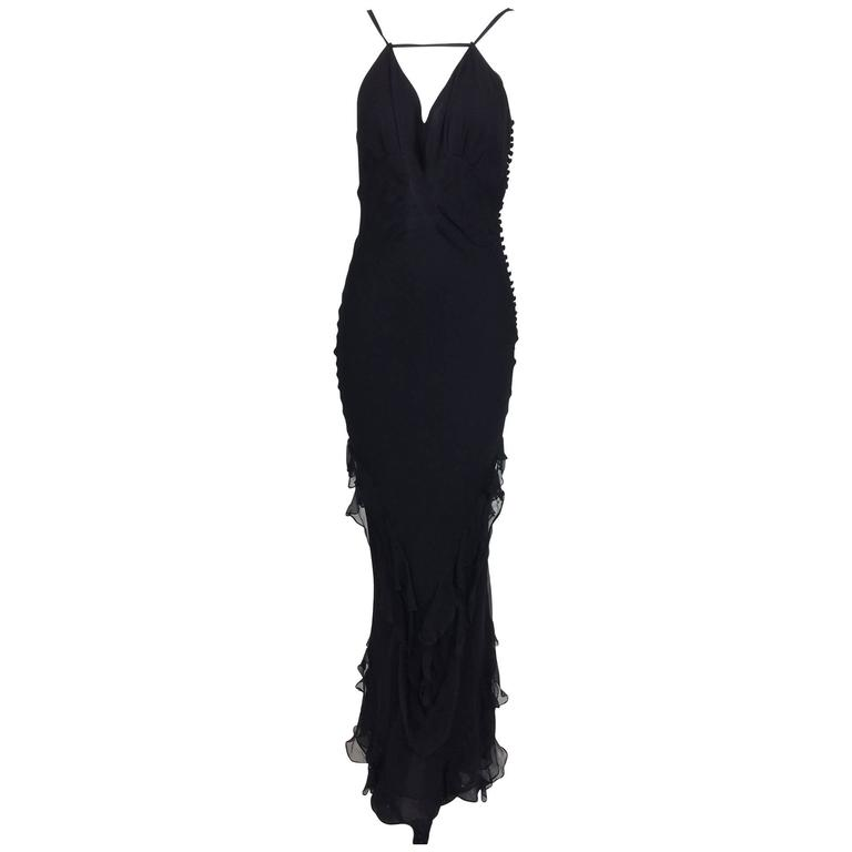 J. Mendel halter neck black tiered ruffle chiffon evening dress 8