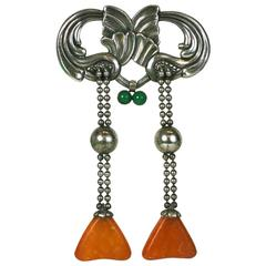 Oversized Skonvirke Brooch, Amber and Green Onyx