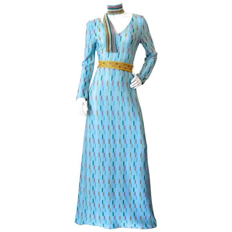 Super Model Length 1970s Missoni Multicolor Rectangle Pattern Knit Lame Gown  1