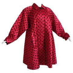 Christian Dior Polka Dot Evening Coat Voluminous Silk Satin Red Vintage Sz 10