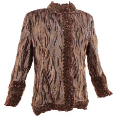 Bill Blass Evening Jacket with Feathers, Beads and Sequins Sz16