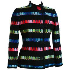 Unique Ungaro Parallele Colorful Mohair Wool Jacket with Asian Detailing M 80s
