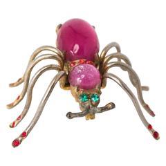 50s Gem Spider Brooch