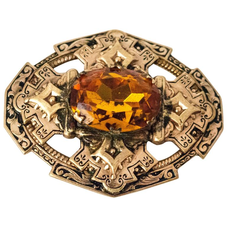 Pre 1920s Edwardian Amber Colored Glass Stone Brooch 1