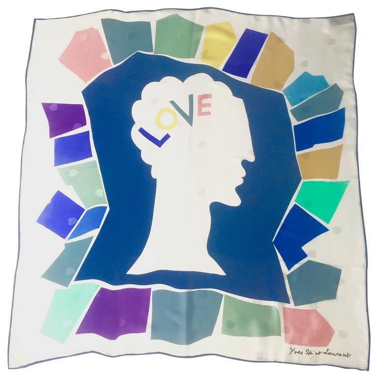 Vintage Yves Saint Laurent LOVE print silk scarf 1985 YSL