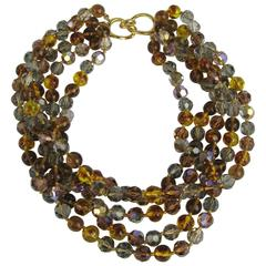 Vintage Ciner Ombre Multi strand Necklace 1980s New Old stock