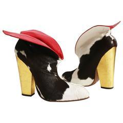 Vivienne Westwood 'Vive la Cocotte' cowhide Cuban boots, circa 1995