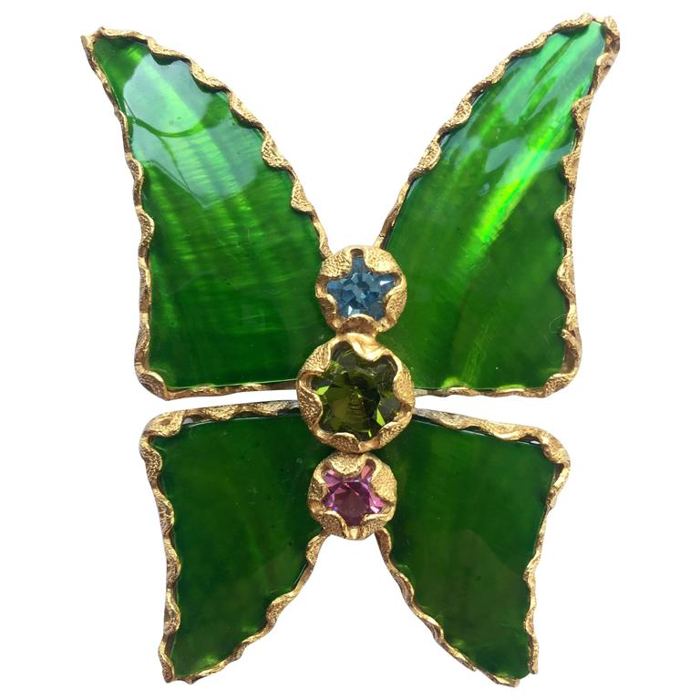 8a9c6a39488 Vintage Yves Saint Laurent Green Enamel and Gold Butterfly Pin YSL For Sale