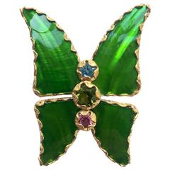 Vintage Yves Saint Laurent Green Enamel and Gold Butterfly Pin YSL