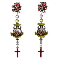 Rare 1980s Jean Paul Gaultier Paris Gothic Clip Dangling Earrings Skull & Cross