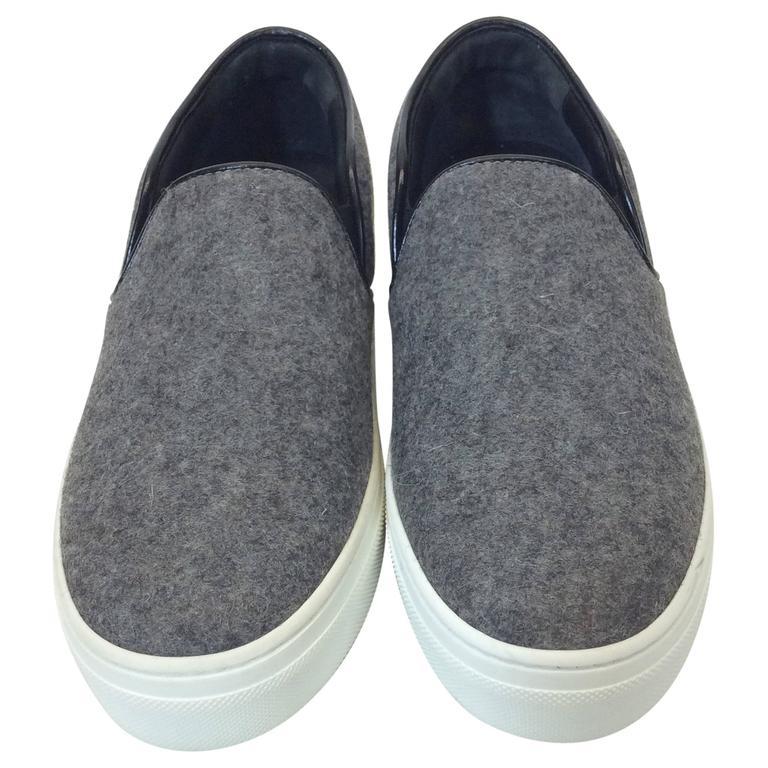 Celine Skate Slip on Grey Felt Sneakers For Sale
