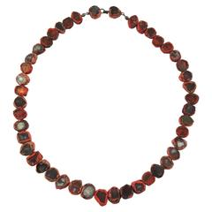 1960s Line Vautrin Rare Red Talosel Resin Mirror Necklace