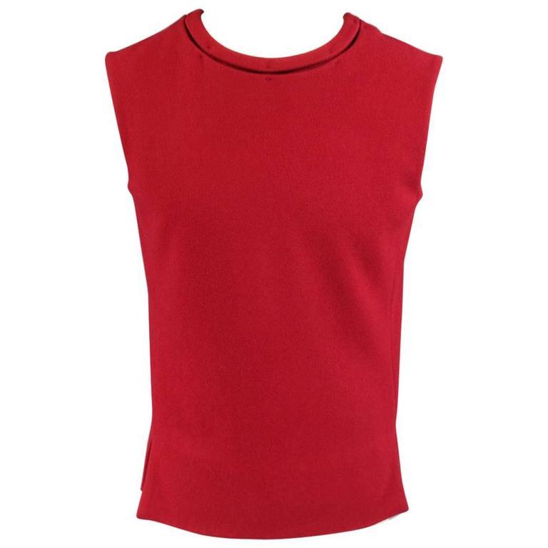 Men's JIL SANDER Size M Burgundy & Black Wool Blend Sleeveless Crewneck Vest For Sale