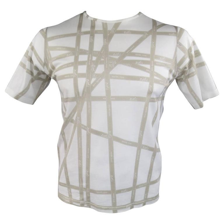 Men's HERMES Size XL White & Taupe Bolduc Ribbon Print Cotton T-shirt 1