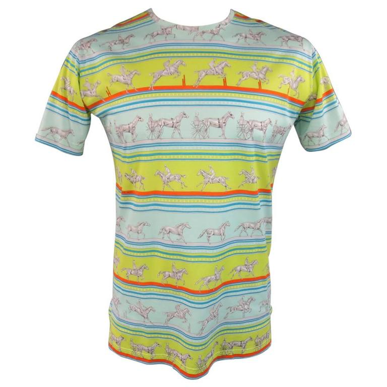 Men's HERMES Size XL Green Blue & Orange Striped Sequences Horse Print T-shirt 1