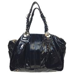 Chloe Black Patent Leather Large Tote Bag