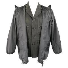Men's ISSEY MIYAKE 38 Charcoal Cotton Jacket With Zip Off Windbreaker Layer