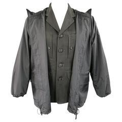 Issey Miyake Men's Jacket 38 Charcoal Cotton Jacket Zip Off Windbreaker Layer