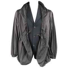 ISSEY MIYAKE 40 Black Cotton Notch Lapel Drawstring Windbreaker Layer Jacket