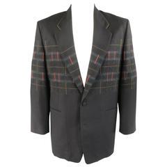 MATSUDA Jacket 40 Black Wool Geometric Circles & Stripes Oversized Sport Coat