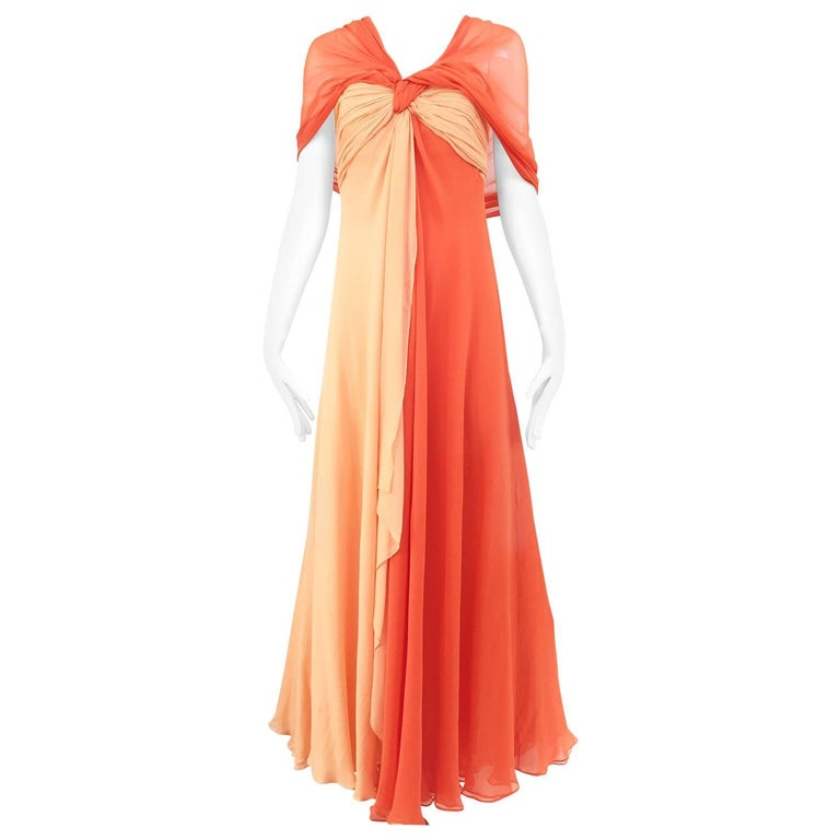 1990s Bill Blass Tangerine Orange Silk Chiffon Strapless Dress with Shawl For Sale
