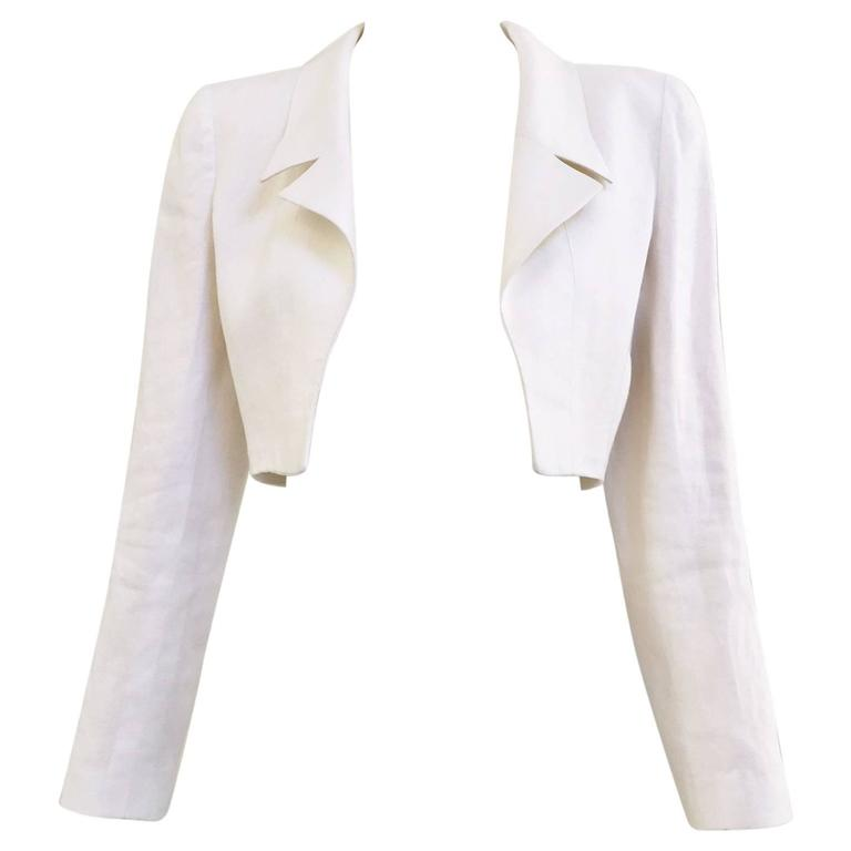 90S chanel crop linen jacket 1